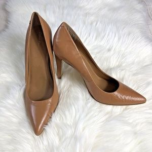 [Calvin Klein] Tan Pointed Toe Nude Leather Pumps